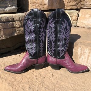 Justin Boots Purple Lizard Leather Boots
